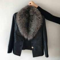Кожаная куртка с натуральным мехом (чернобурка), в г.Одесса