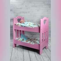 2-х ярусная деревянная розовая кроватка для куколки 50 см, в Санкт-Петербурге
