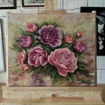 """Картина, """"Пионы"""". Холст, маслом. 50×60 см, в г.Костанай"""