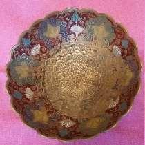 Тарелка декоративная настенная Павлин. Латунь. Индия. диамет, в Королёве