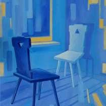 """Картина """"Синие стулья"""", холст, масло, 50*70 см, в Калининграде"""