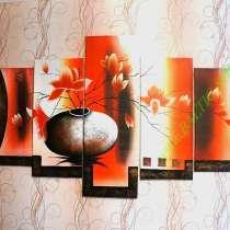 Цветы в вазе, 200х100см, Модульная картина маслом, в Москве