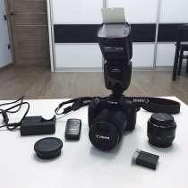 Фотокамера Canon 800D + 2 объектива + вспышка + год гарантии, в г.Алматы