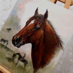 Резервация (Лошадь),50х60см, Картина маслом на холсте, в Москве