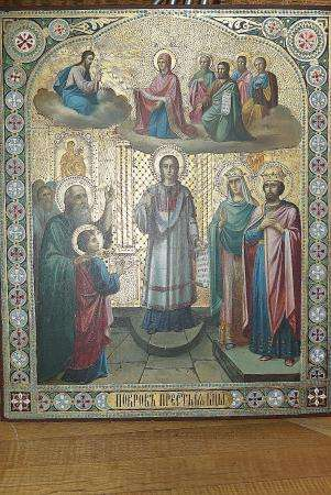 Икона храмовая Покров Пресвятой Богородицы. Россия, XIX век
