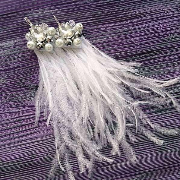 Сережки из перьев ручной работы в Новосибирске фото 3