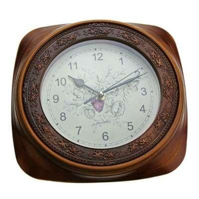 Часы настенные рама коричневая в узорах