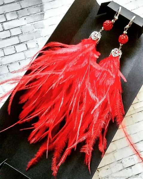 Сережки из перьев ручной работы в Новосибирске