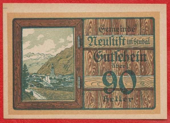 Австрия Нойштифт Штубайталь нотгельд 90 геллеров