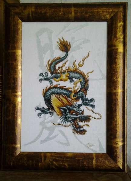 Картина «Дракон-цю»,ручная работа, вышивка