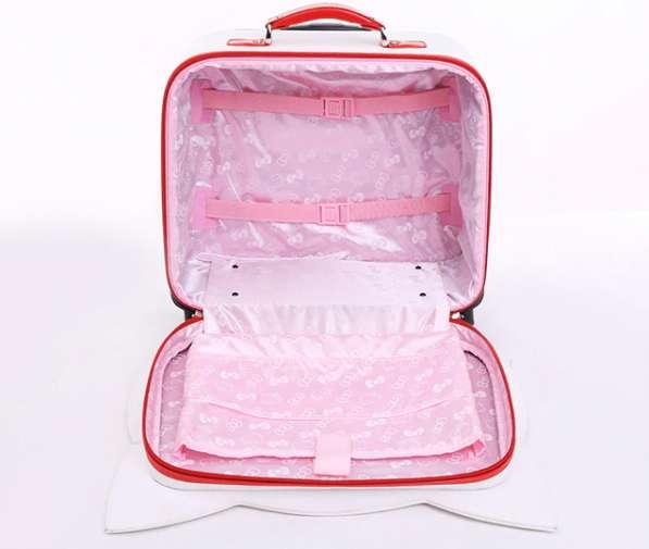 Детский чемодан на колесах с сумкой Кошка розовый в Мытищи