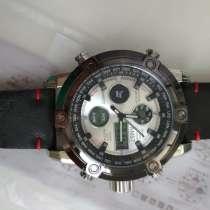 Большие часы AMST-3022 с кожаным ремешком, в Омске