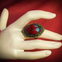 Кольцо с бирюзой и кораллом, в г.Кушва