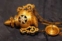 Старинная храмовая подвесная Лампада. Эмали.Россия, XIX век., в Санкт-Петербурге