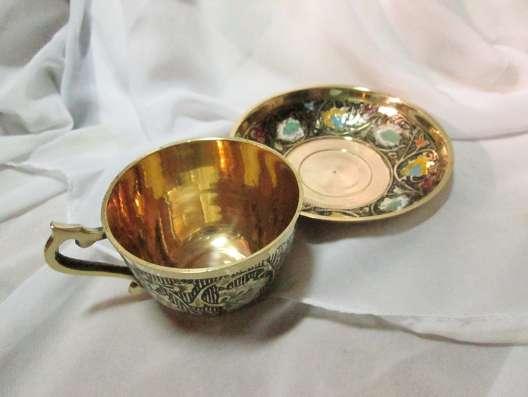 Латунь чашка с блюдцем, эмали в Пятигорске Фото 1