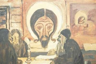 Бучкин П.Д., акварель «В монастыре».1916 в Санкт-Петербурге Фото 4