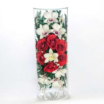 Композиции из живых цветов в стекле на 5 лет ! в Москве Фото 3