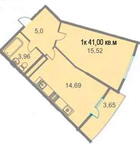 1-комнатная квартира 41 кв. м
