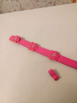 Ремень розовый с цветочками №42