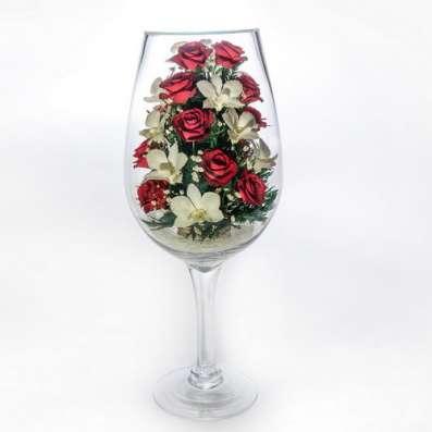 Композиции из живых цветов в стекле на 5 лет ! в Москве Фото 1