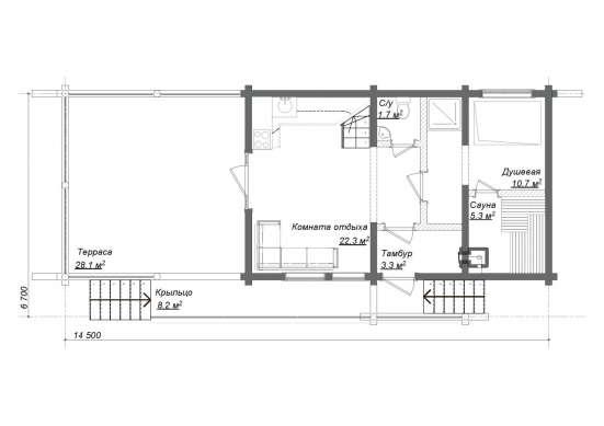Дом-баня из оцилиндрованного бревна СВЕТОЗАР. Проект МОГУТЫ