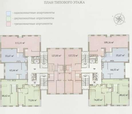 Апартаменты 76.5 м2 в элитном комплексе «Гороховский 12»