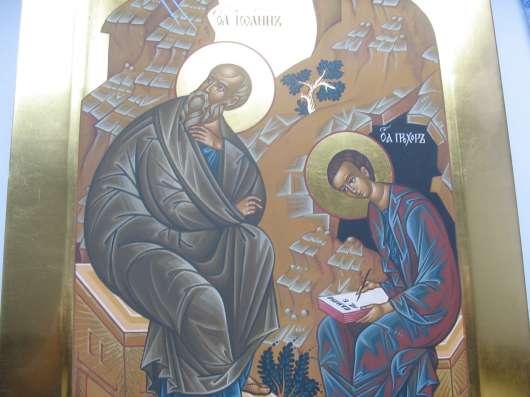 Икона храмовая. Евангелист Иоан и Прохор. На золоте в Москве Фото 3