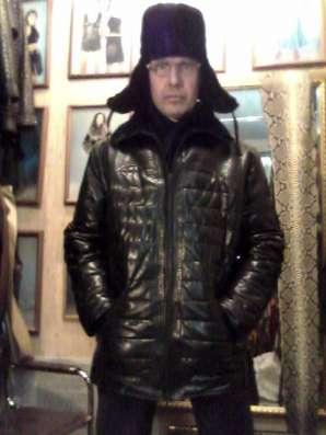 Продаю кожаный пуховик мужской,эксклюзивная дизайнерская вещ